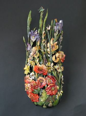 "<p>lynne's garden<br/>wall sculpture 16""w x 42""""h<br/>sold<p>"